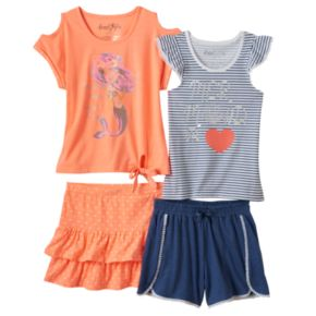 Toddler Girl Freestyle Revolution Mermaid Tank Top, Tee, Skirt & Shorts Set