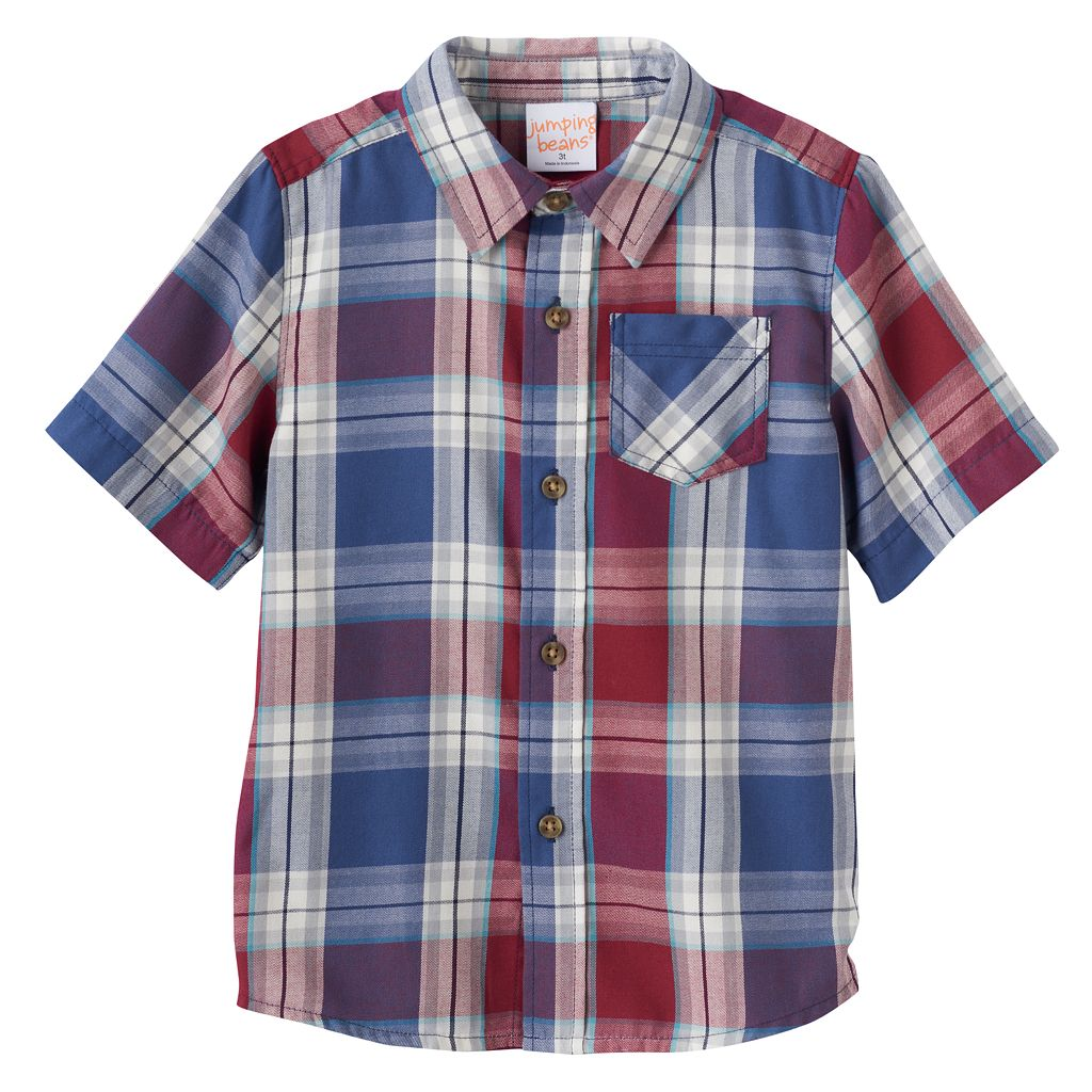 Toddler Boy Jumping Beans® Plaid Flannel Short Sleeve Shirt