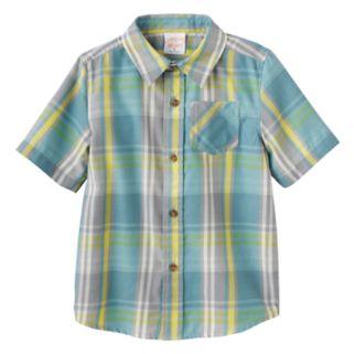 Toddler Boy Jumping Beans® Plaid Flannel Short Sleeve Shirt