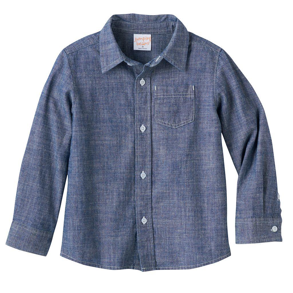 Baby Boy Jumping Beans® Long Sleeve Chambray Button-Down Shirt