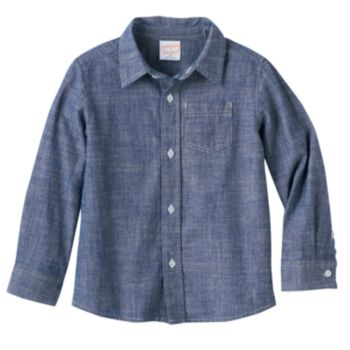 Baby Boy Jumping Beans® Long Sleeve Chambray Button-Down Shirt
