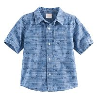 Baby Boy Jumping Beans® Cars Chambray Button-Front Short Sleeve Shirt