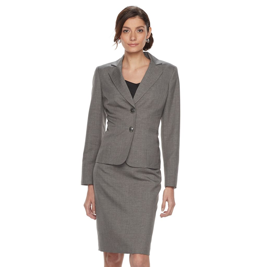 Women's Le Suit Solid Gray Suit Jacket & Pencil Skirt Set