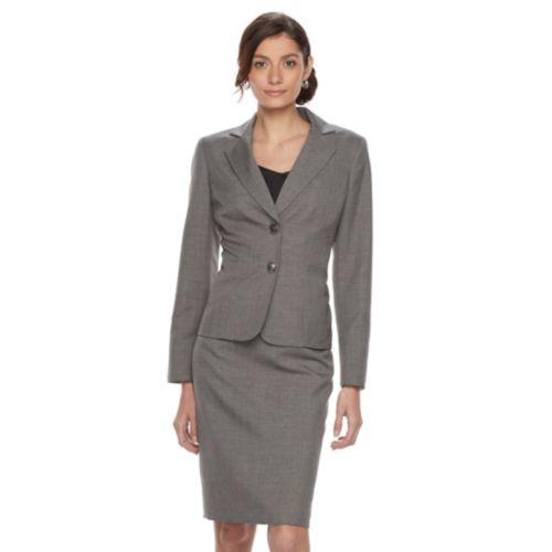 Women S Le Suit Solid Gray Suit Jacket Pencil Skirt Set