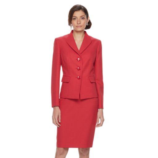 Women's Le Suit Textured Suit Jacket & Skirt Set