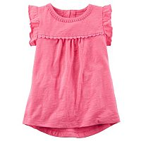 Toddler Girl Carter's Ruffle Sleeve Floral Trim Top