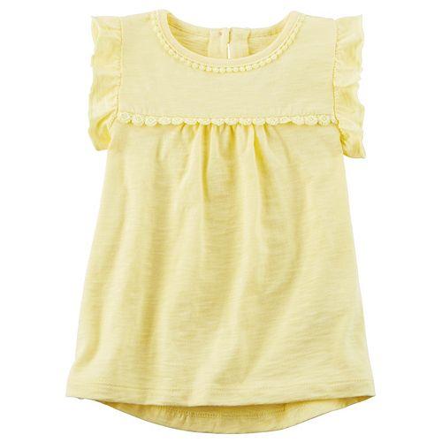 Toddler Girl Carter's Ruffle Sleeve Floral Trim Top