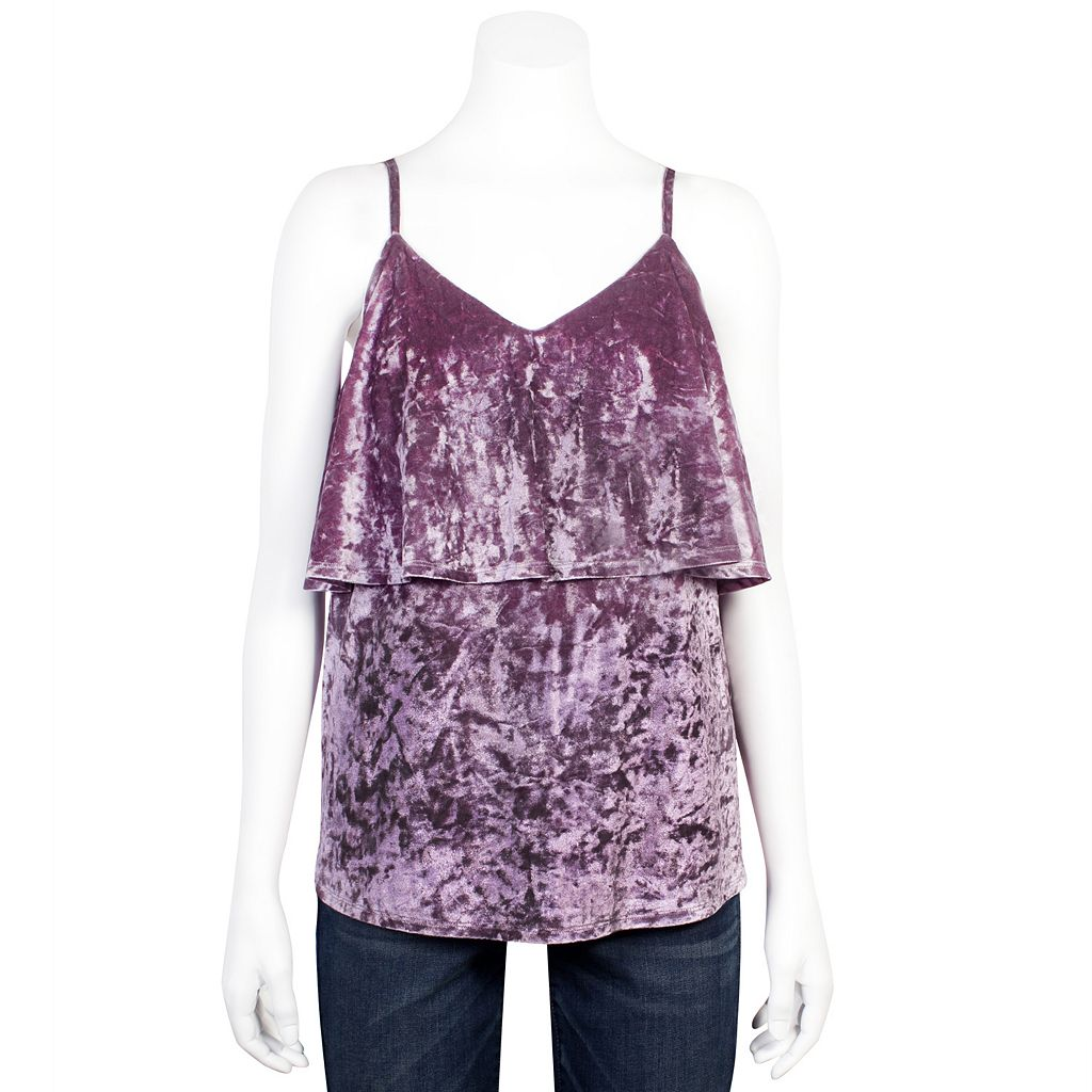 Juniors' Grayson Threads Velvet Flounce Camisole