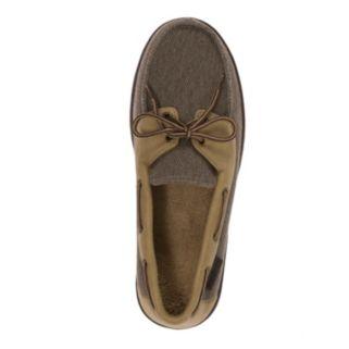 Dearfoams Men's Twill Boater Moccasin Slippers