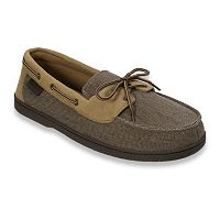 Dearfoams Men's Twill Boater Moccasin Slippers