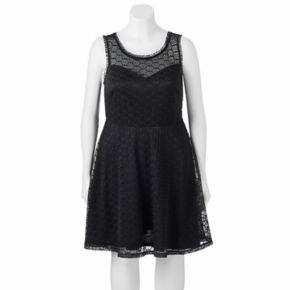 Juniors' Plus Size Wrapper Lace V-Back Skater Dress