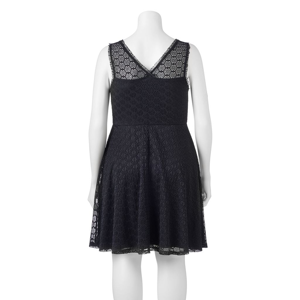Juniors' Plus Size Wrapper Lace V-Back Skater Dress
