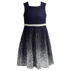 Girls 7-16 Emily West Embellished Navy Ombre Dress