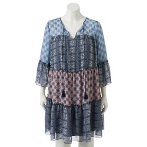 Juniors' Plus Size Speechless Mixed Pattern Peasant Dress