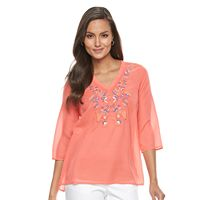 Petite Dana Buchman Embroidered V-Neck Top