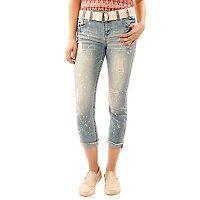 Juniors' Wallflower Luscious Curvy Ripped Splatter Jean Capris