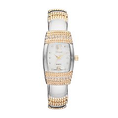 Vivani Women's Crystal Two Tone Cuff Watch