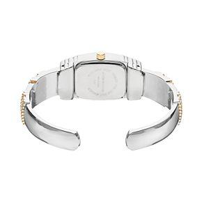 Vivani Women's Crystal Two Tone Cuff Watch