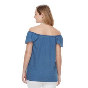 Maternity a:glow Off-the-Shoulder Chambray Top