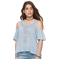 Juniors' Mudd® Print Cold Shoulder Top