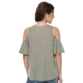 Juniors' Mudd® Print Cold Shoulder Top