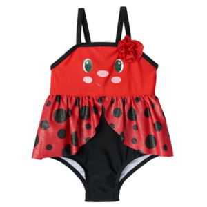 Baby Girl Candlesticks Skirted Animal One-Piece Swimsuit