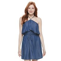 Juniors' Speechless Ruffle Bodice Denim Dress