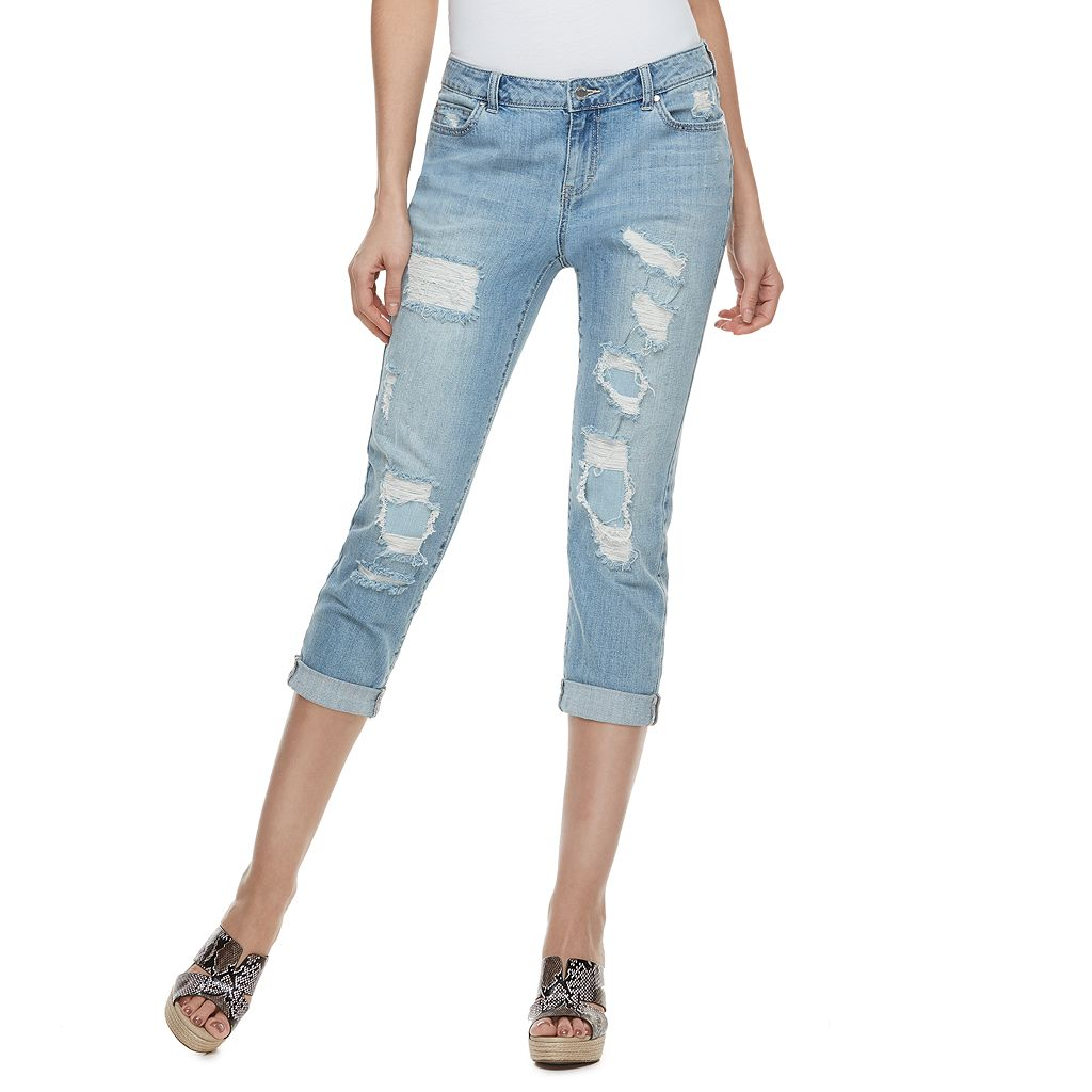 Petite Jennifer Lopez Destructed Boyfriend Jeans