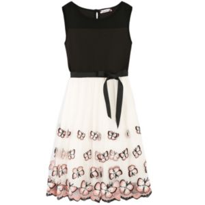 Girls 7-16 Speechless Illusion Neckline Butterfly Border Dress