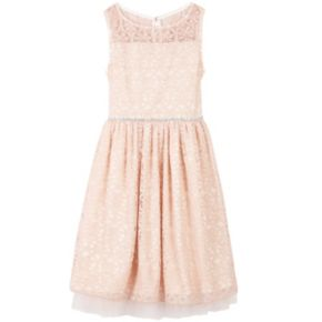 Girls 7-16 Speechless Lace Overlay Illusion Neckline Dress