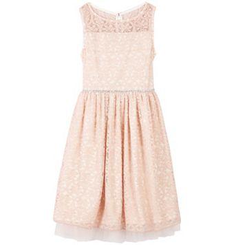 Girls 7-16 Speechless Lace Overlay Illusion Neckline Dress
