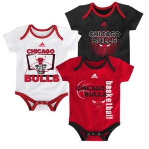 Baby adidas Chicago Bulls 3-Pack Bodysuit Set