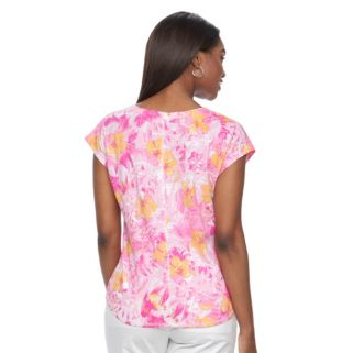 Women's Caribbean Joe Floral Linen Blend Tee