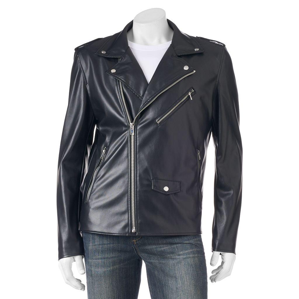 Men's XRAY Slim-Fit Faux-Leather Moto Jacket