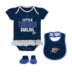 Baby adidas Oklahoma City Thunder 3-Piece Little Darling Bodysuit Set