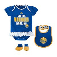 Baby adidas Golden State Warriors 3-Piece Little Darling Bodysuit Set