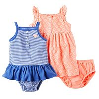Baby Girl Carter's Striped Romper & Geo Printed Dress Set
