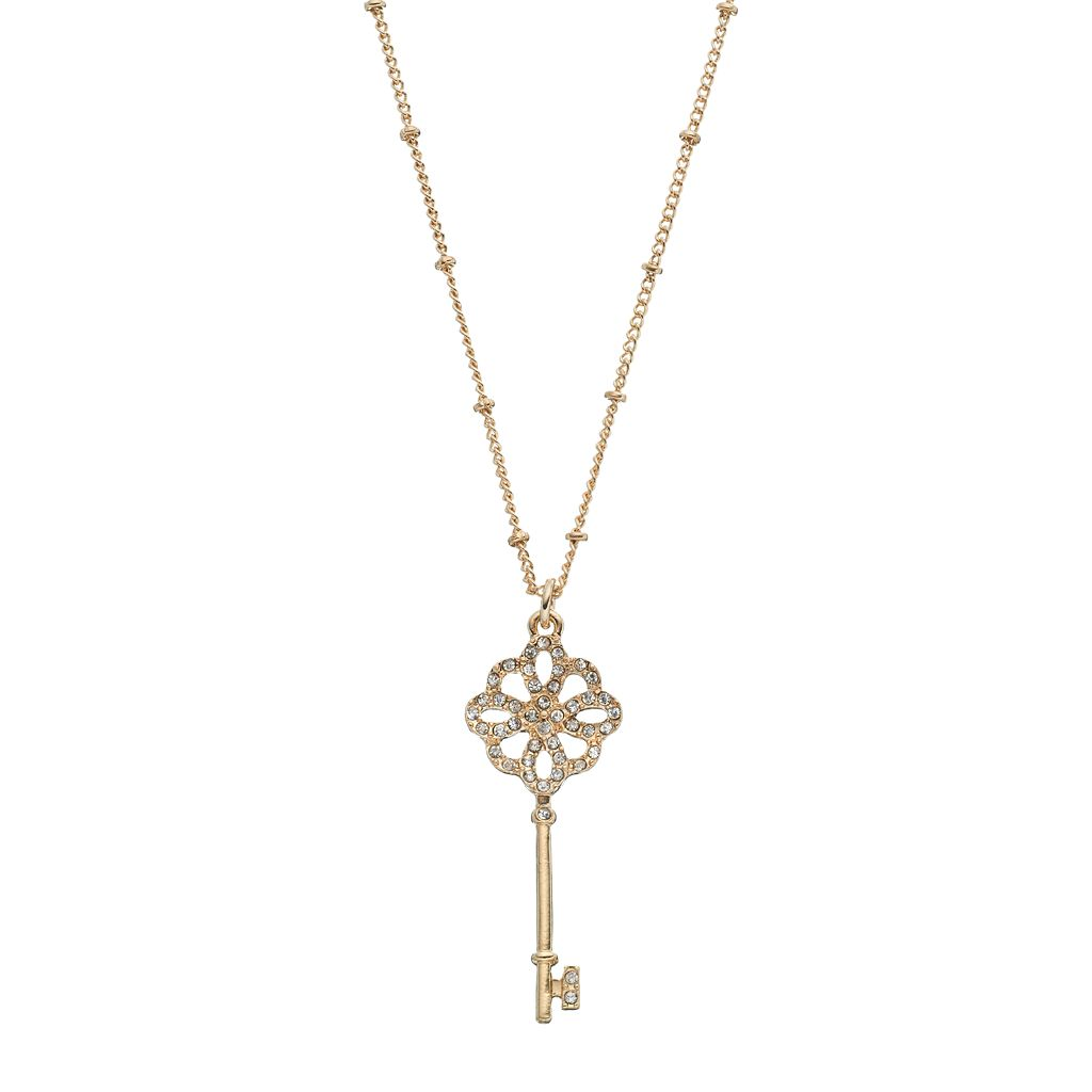 Long Skeleton Key Pendant Necklace