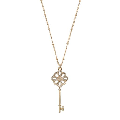 Long Skeleton Key Pendant Necklace