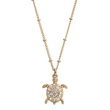 Long Turtle Pendant Necklace