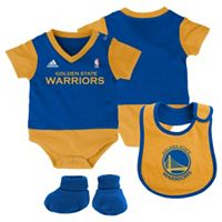 Baby adidas Golden State Warriors 3-Piece Jersey Bodysuit Set