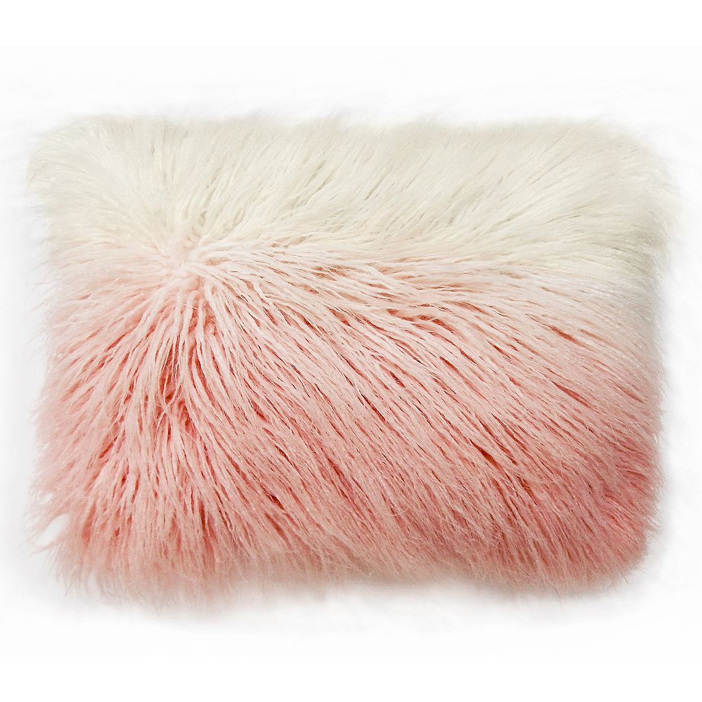 Simple By Design Mongolian Ombre Faux Fur Oblong Throw Pillow