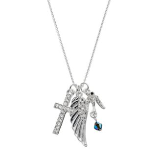 Cross, Dove & Wing Charm Necklace