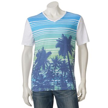 Men's Distortion Palm Tree Striped Tee