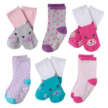 Toddler Girl Stride Rite 6-pk. Critter Face Crew Socks