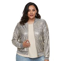 Plus Size Jennifer Lopez Metallic Crop Bomber Jacket