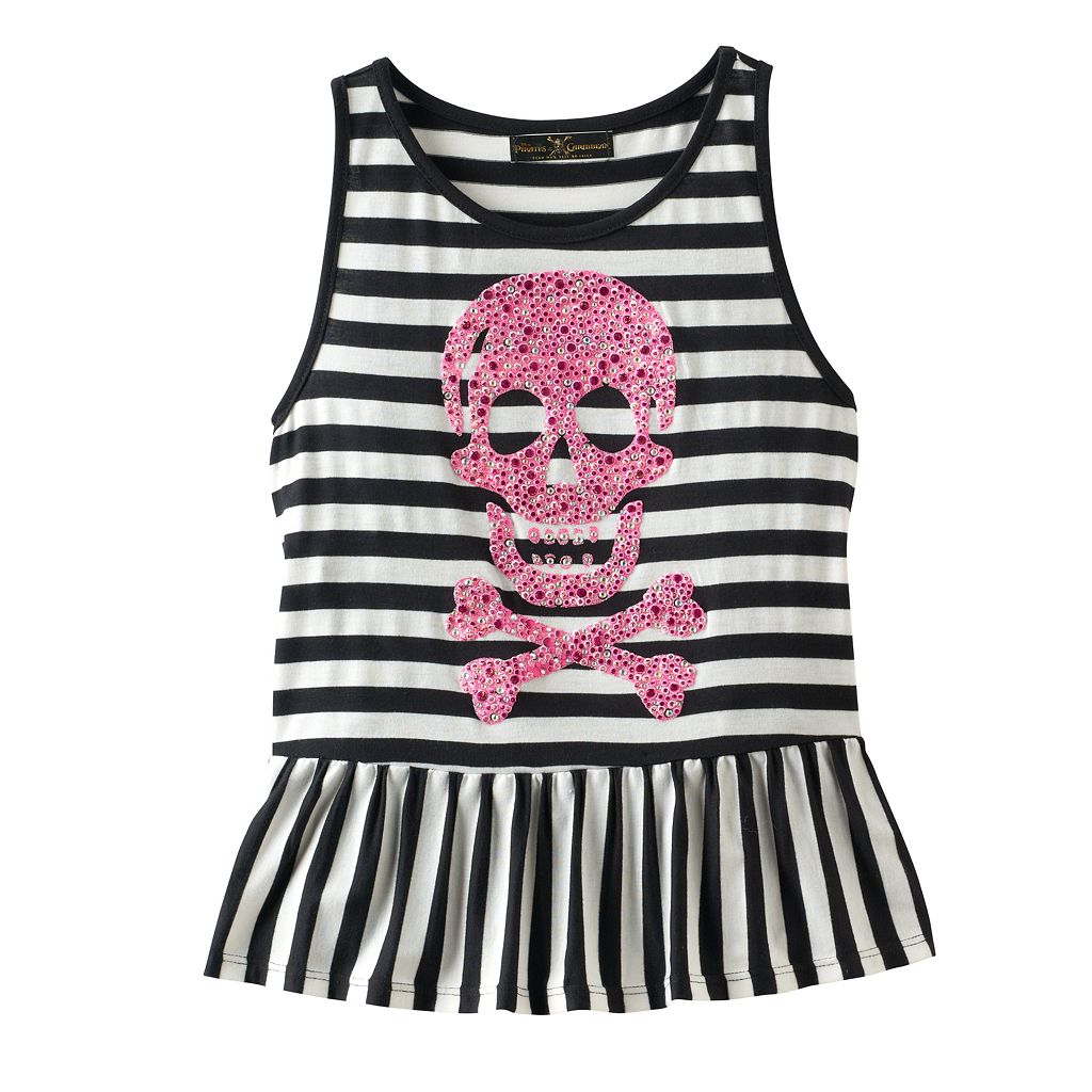 Disney D-signed Pirates of the Caribbean: Dead Men Tell No Tales Girls 7-16 Embellished Skull & Crossbones Striped Ruffle Tank Top