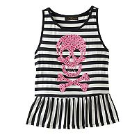 Disney D-signed Pirates of the Caribbean: Dead Men Tell No Tales Girls 7-16 Embellished Skull & Crossbones Striped Ruffle Tank Top