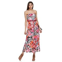 Petite Jennifer Lopez Zebra-Print Strapless Maxi Dress