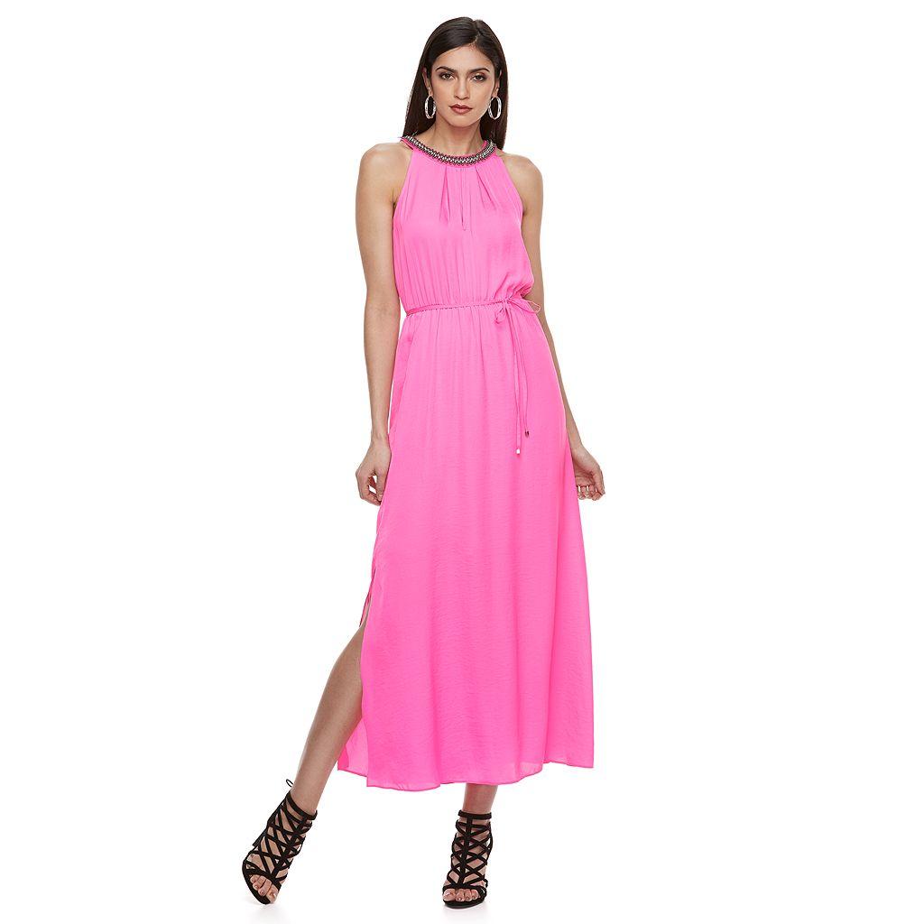 Petite Jennifer Lopez Beaded Sleeveless Maxi Dress